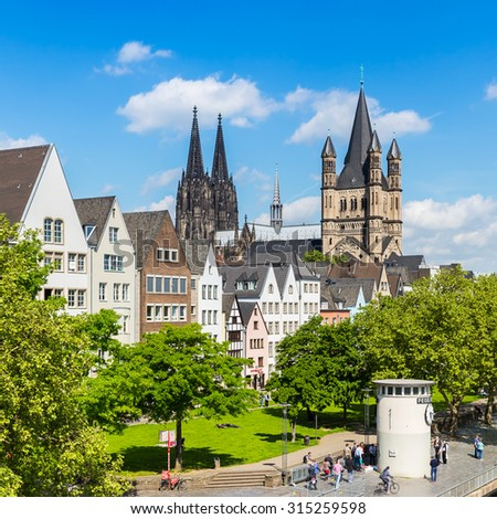 old town of cologne with Cologne cathedral and groos st. martin church, germany - stock photo