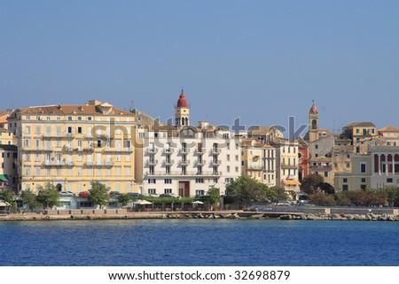 Old town of Corfu island Greece - stock photo
