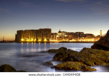 Old town of Dubrovnik at dusk, Croatia - stock photo