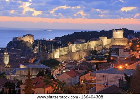 Old town of Dubrovnik at night, Croatia - stock photo