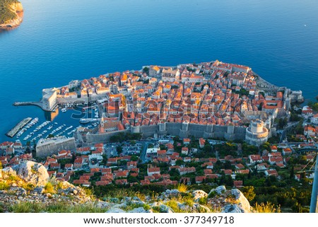 Old town of Dubrovnik, Croatia - view from mountain top - stock photo