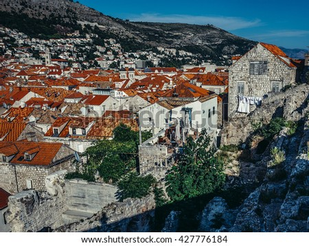 Old Town of Dubrovnik seen from city walls, Croatia - stock photo