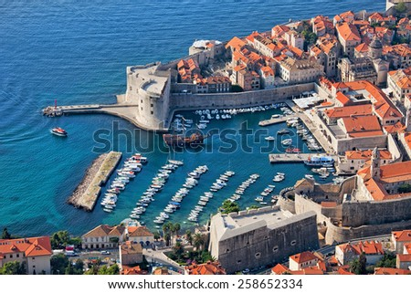 Old Town of Dubrovnik with marina on Adriatic Sea in Croatia, aerial view. - stock photo