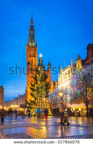 Old town of Gdansk architecture with Christmas tree, Poland - stock photo