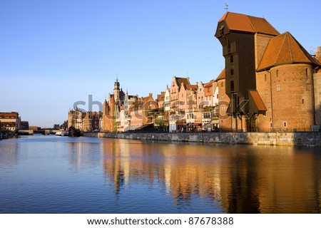 Old Town of Gdansk skyline along the river Motlawa in Poland, on the right side of the image The Crane.