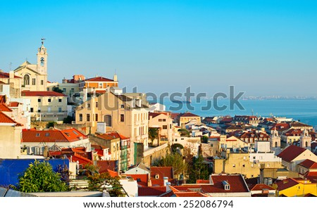 Old Town of Lisbon in the sunset light. Portugal - stock photo