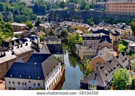Old town of Luxembourg - bird's eye view Idioms - stock photo