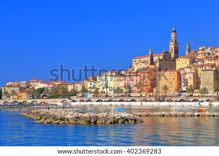 Old town of Menton near the sea in sunny day, French Riviera, France