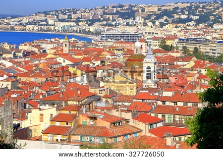 Old town of Nice seen from above, French Riviera, France - stock photo