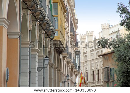 Old town of  Palma de Majorca Balearic islands Spain - stock photo