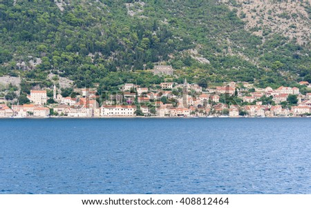Old town of Perast on the Bay of Kotor in Montenegro - stock photo