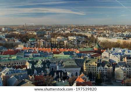 Old Town of Riga (Latvia)  in the evening.  The view from St.Peter's Church - stock photo