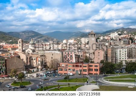 Old town of Savona-overview, Italy, travel landmark - stock photo