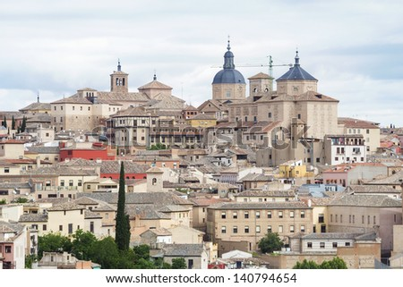 Old town of Toledo, beside the Tagus River, former capital city of Spain