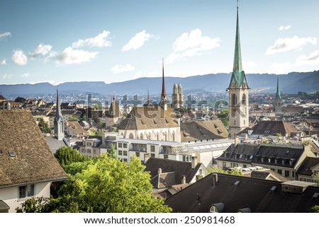 Old town of Zurich as seen from the viewpoint