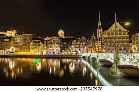 Old town of Zurich at night - Switzerland - stock photo
