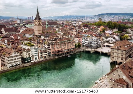 Old town of Zurich, Switzerland - stock photo