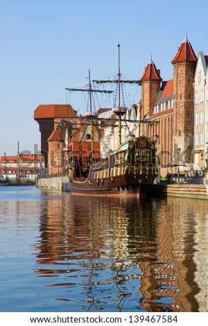 Old town over river Motlawa, Gdansk ,  Poland - stock photo