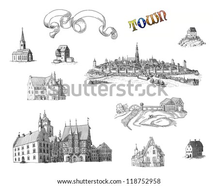 Old town set illustration - stock photo