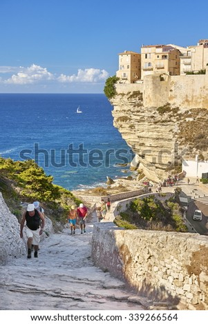 Old Town situated on the limestone cliff, Bonifacio, South Coast of Corsica Island, France