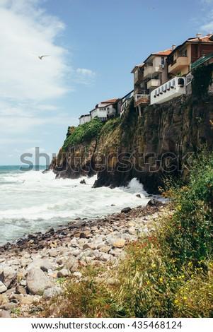 Old town Sozopol at Black Sea. Picturesque sea landscape. Coastline in the old town of Sozopol at Black Sea, Bulgaria. Old fortress wall. Architectural and Historic Complex. - stock photo