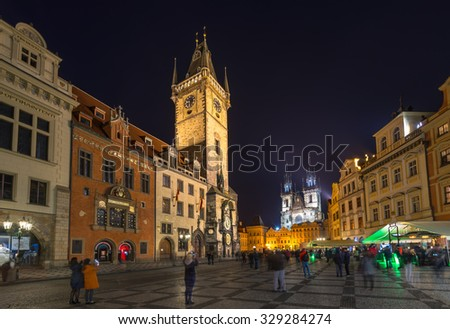 Old Town Square and Astronomical Clock Orloj in Prague at night. Czech Republic - stock photo