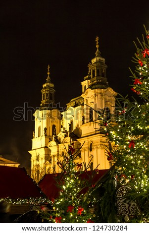old town square at christmas in prague czech republic
