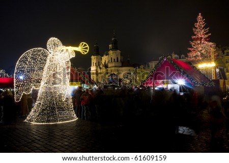 Old Town Square at Christmas time, Prague, Czech Republic - stock photo