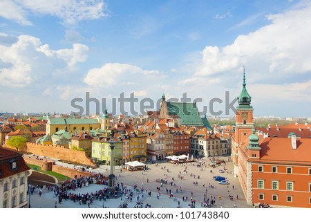 Old town square (plac Zamkowy), Warsaw, Poland - stock photo