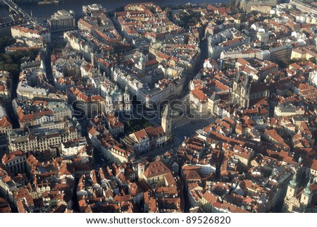 Old Town Square, Prague, ariel view