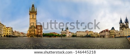 Old Town Square (Staromestk Namesti) early in themorning, Prague, Czech Republic - stock photo