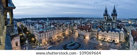 Old Town Square (Staromestka nameste) in the early evening, Prague, Czech Republic - stock photo