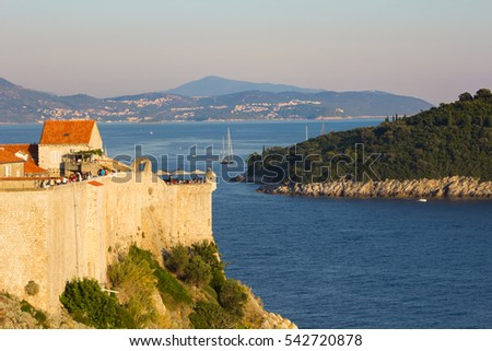 Old town walls of Dubrovnik and a part of Lokrum island, Croatia