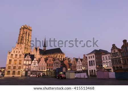 Old Town with Saint Rumbold's Cathedral during Christmas  in Mechelen, Belgium