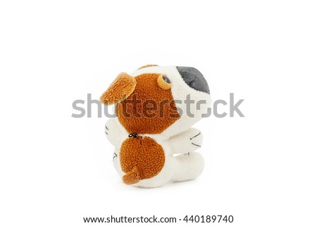 Old toy Dog isolated on a white background - stock photo