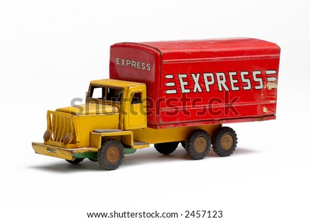 Old Toy Metal express truck facing left - stock photo
