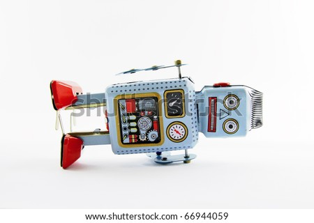 old toy robot - stock photo
