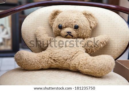 old toy teddy bear - stock photo