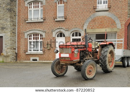 old tractor and house, ardennes