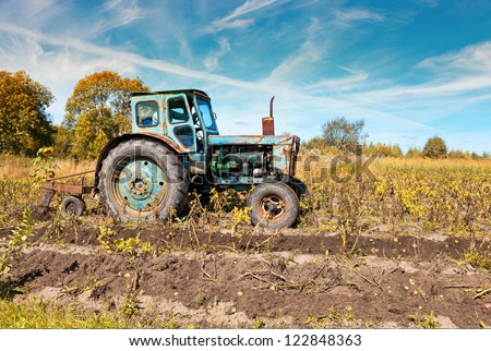Old tractor in the field
