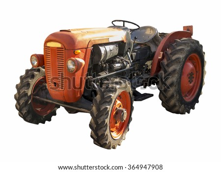 old tractor isolated on white background - stock photo