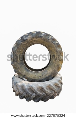 Old Tractor tires isolated on white background. - stock photo