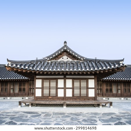 Korean house stock images royalty free images vectors for Traditional house building