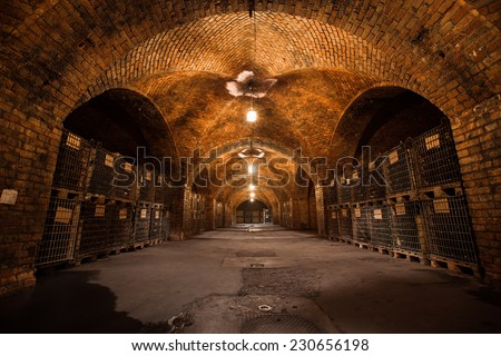old traditional beverage cellar, poor light  - stock photo