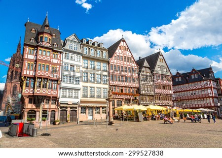 Old traditional buildings in Frankfurt, Germany  in a summer - stock photo