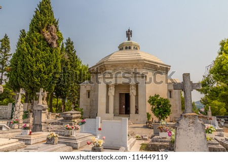 Old traditional cemetery with  mausoleum in Cavtat, small town near Dubrovnik, Croatia
