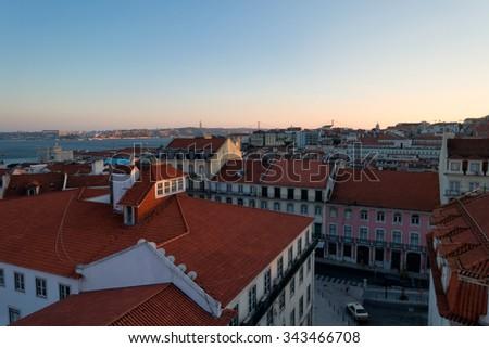 Old traditional city of Lisbon - panorama of Lisbon - stock photo