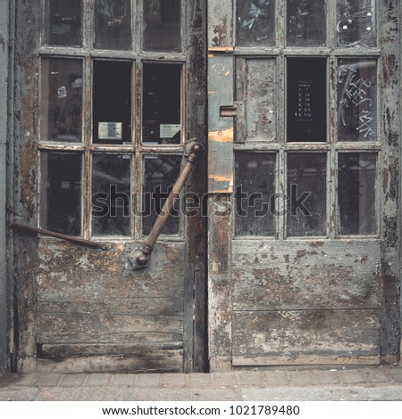 Old Traditional Doors Glass Front View Stock Photo Royalty Free