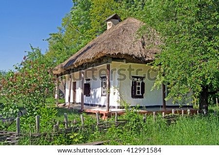 Old traditional house in Ukraine - stock photo
