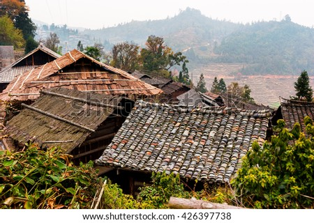 Old traditional houses roofs, Basha Miao village, Guizhou, China
